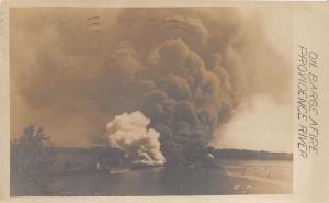 D73/ Providence Rhode Island RI RPPC Postcard 1909 Oil Barge Fire Disaster