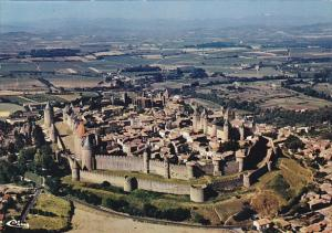 France Carcassonne Vue generale aerienne de la Cite Medievale