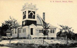 Beloit Kansas~United Brethren Church~Out Buildings & Fence Posts~1908 Postcard