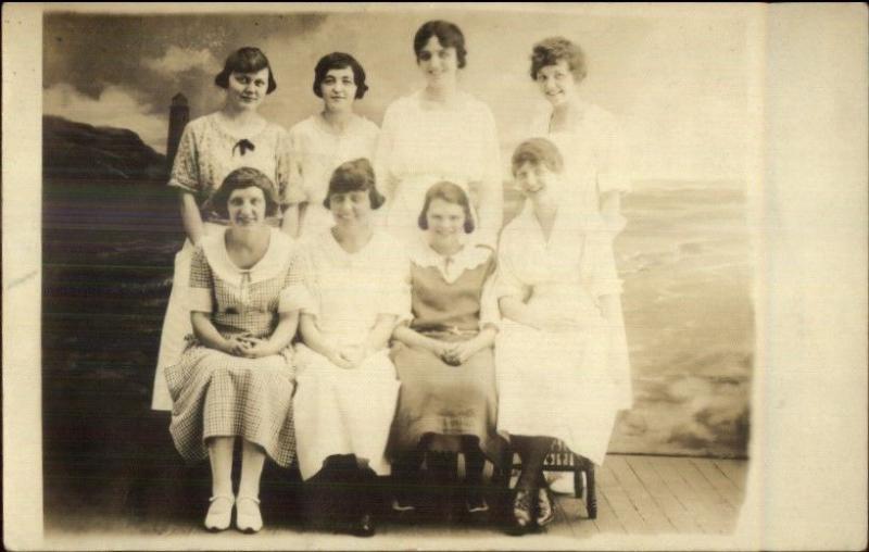 Women Group Studio Lighthouse c1920 Real Photo Postcard