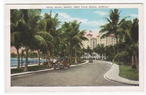 Street Scene Hotel Royal Worth West Palm Beach Florida 1920s postcard