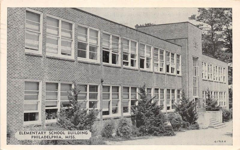 E21/ Philadelphia Mississippi Postcard 1957 Elementary School Building