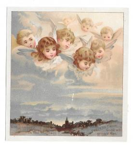 Vintage Chromo Card Lithograph Cherubs Angels Overlooking Countryside Church