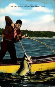 Salmon Fishing Catching A Big One In The Scenic Pacific Northwest