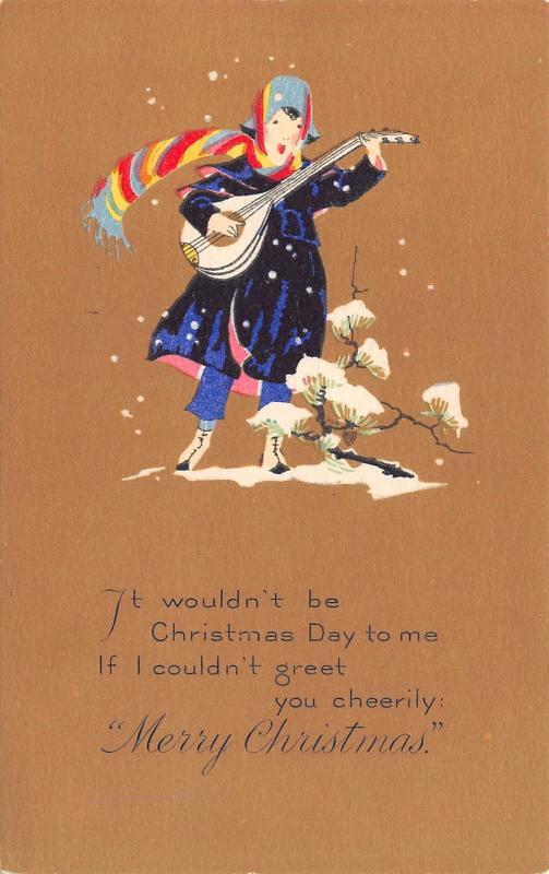 PF Volland Christmas~Colorful Minstrel Strums Mandolin`Snow~Brown