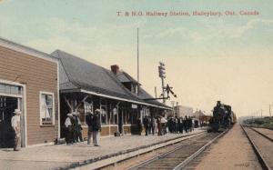 HAILEYBURY , Ontario , Canada, 1900-10s ; T.&N.O. Railroad Station w/train