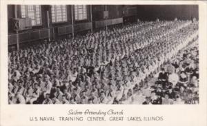 Illinois Great Lakes Sailors Attending Church Naval Training Station 1945 Rea...