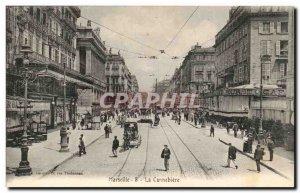 Marseille - The Cannebiere - tram - Cafe Bourse - Old Postcard