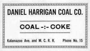 Michigan~Daniel Harrigan Coal Company Coal-Coke~Kalamazoo Ave/MI Central RR