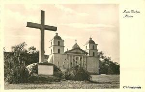 1950s Santa Barbara California Mission Cross RPPC real Photo postcard 11408