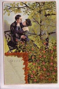 Couple Outside, Roses, Used 1907, Chicago, Vintage Romance