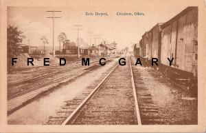 1910 Creston OH PC: Erie Depot & Boxcars on Siding