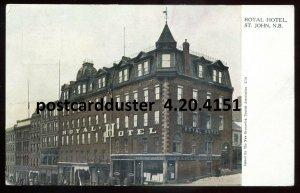 4150 - ST. JOHN NB Postcard 1910s Royal Hotel. Stores by Warwick