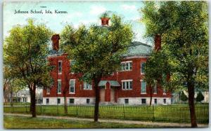 Iola, Kansas Postcard JEFFERSON SCHOOL Building View c1910s Unused