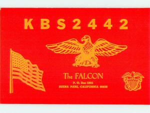 patriotic EAGLE BIRD - QSL CB HAM RADIO CARD Los Angeles - Buena Park CA t9668