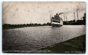 Postcard DE Delaware City Steamer Lord Baltimore Approaching Lock  D10