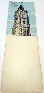 VINTAGE PULL-DOWN POSTCARD WOOLWORTH BUILDING NEW YORK. UNUSED!!!