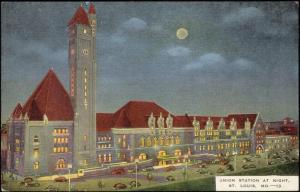 St Louis, Mo., Union Station at Night (1940s)