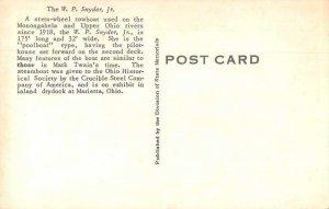 Marietta Ohio Stern Wheel Towboat WP Snyder Real Photo Vintage Postcard JH230759