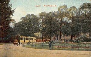 Netherlands Rotterdam Park Tram Promenade Postcard