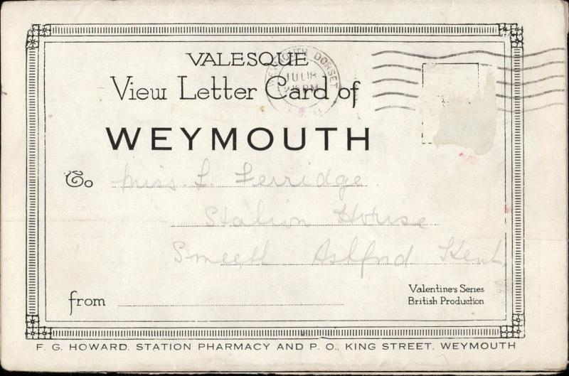 Valesque view letter card of Weymouth UK