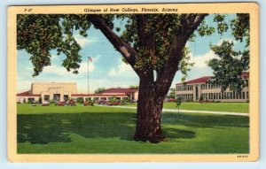 PHOENIX, AZ Arizona NEW COLLEGE 1950 Linen Curt Teich  Postcard