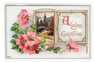 A Loving Greeting Cottage Scene Gilt Frame Wild Roses Vintage Embossed Postcard