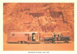 Airstream Trailer at Shapur I Bas-Relief Iran in 1964 Repro Postcard