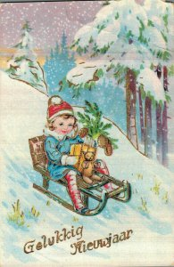 Happy New Year Kids Skiing and more Postcard Lot of 8 01.13