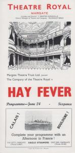 Hay Fever Noel Coward Musical Theatre Royal Margate Kent Vintage Old Programme
