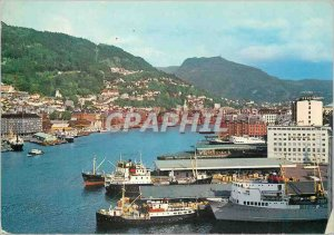 Postcard Modern Bergen Norway View over Vagen Boat