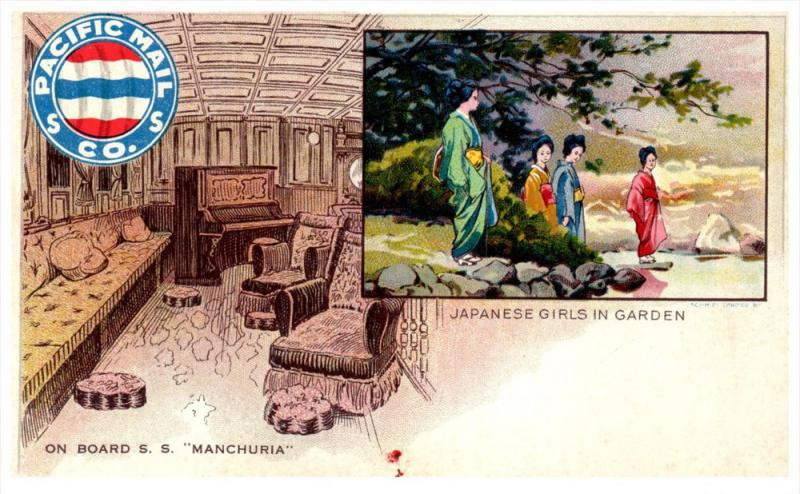 20456 Pacific Mail Co. S.S. Manchuria  Japanese Girls in Garden