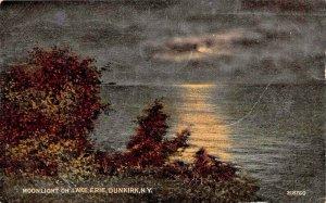 DUNKIRK NEW YORK~MOONLIGHT ON LAKE ERIE-1918 POSTCARD