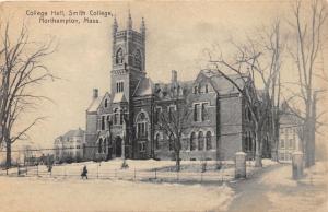Northampton Massachusetts~Smith College-College Hall Building in Winter~c1910 Pc