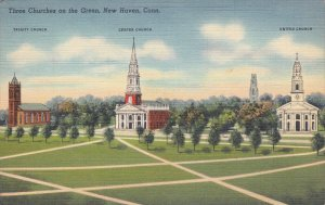 Three Churches on the Green , NEW HAVEN , Connecticut, 30-40s