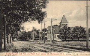 Hempstead Long Island NY Church & Main St. c1910 Postcard