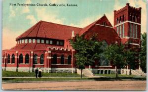 Coffeyville, Kansas Postcard First Presbyterian Church Building View 1913