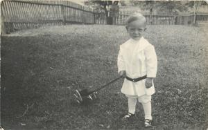 Lil Boy All Dressed In White~Plays With Wooden Push Toy~1910 Real Photo Postcard