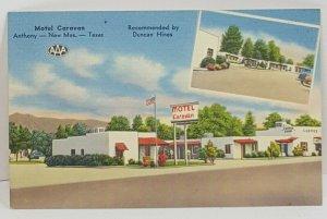 Motel Caravan Anthony New Mexico Texas Vintage Postcard