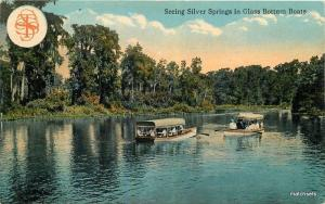 C-1910 Seeing Silver Springs Glass Bottom Boats Scenery FLORIDA postcard 2229