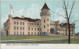 c1910 MINNEAPOLIS University of Minnesota Minn Postcard Mn ARMORY BUILDING