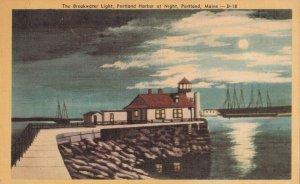 PORTLAND, Maine, 1930-40s; The Breakwater Light, Harbor at Night