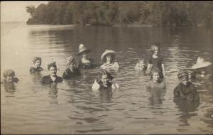 Russeells Point OH - Women & Girls Swimming Hats On c1910 Real Photo Postcard