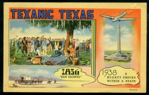 Texanic Texas tx 1836 San Jacinto to 1938 Mighty Empire airplane linen postcard