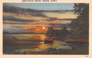 Traer Iowa Sunset Waterfront Greeting Antique Postcard K88713