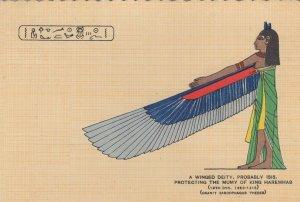 Winged Deity Isis Mummy Of King Haremhab Old Egyptian Postcard