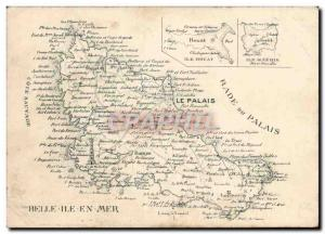 Belle Isle at sea Old Postcard advertising CARTE + Hotel Brittany Henry Mario...