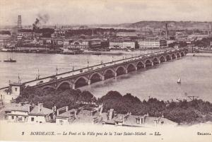 Le Pont Et La Ville Pris De La Tour Saint-Michel, Bordeaux (Gironde), France,...