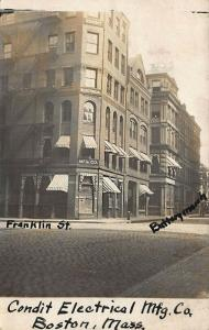Boston MA Franklin Street  Storefronts Condit Electrical MFG Company RPPC