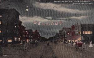 LANSING , Michigan, 1912 ; Washington Avenue at night